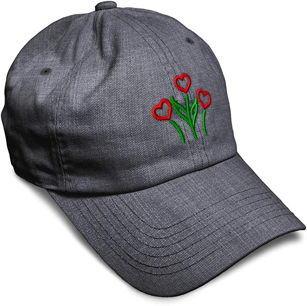 Custom Soft Baseball Cap Heart Flowers Embroidery Dad Hats for Men /& Women