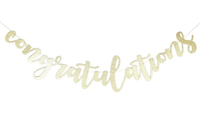amazon com glitter gold congratulations sign graduation 2018