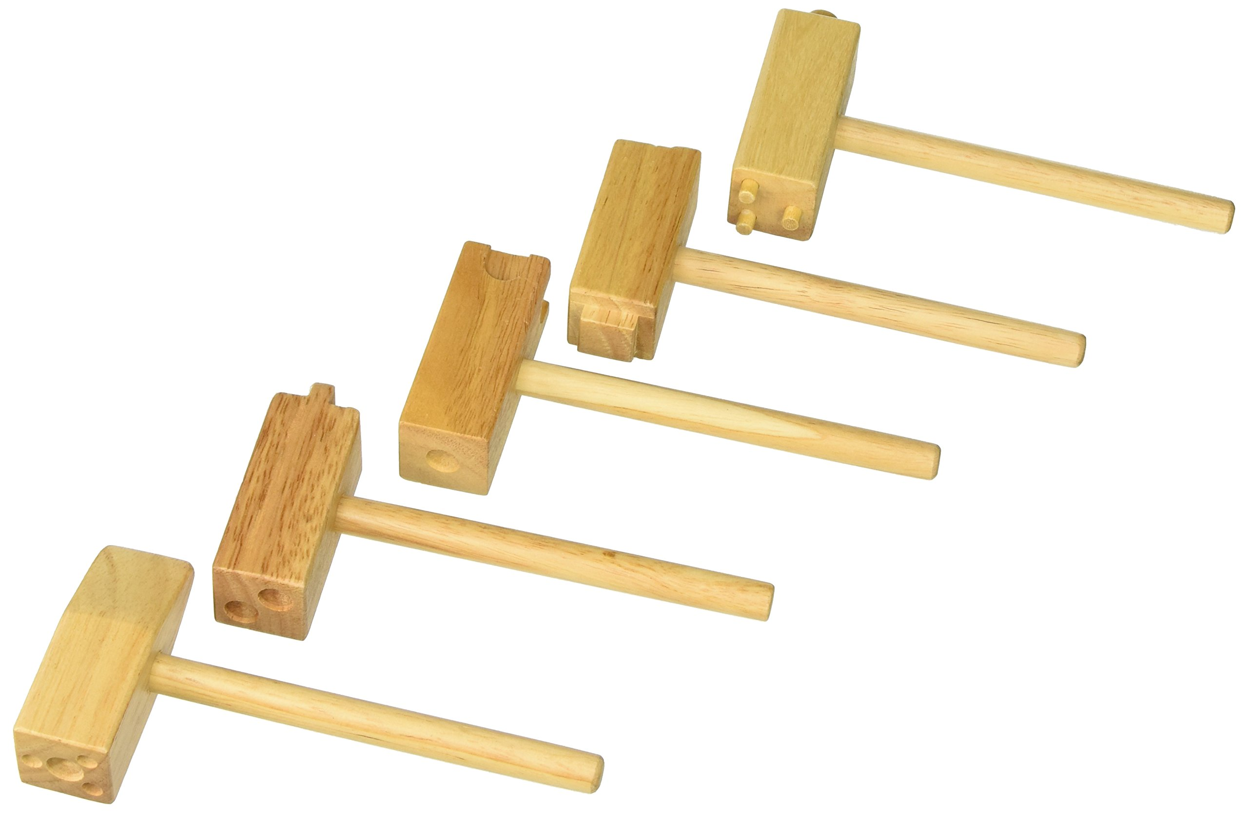 School Smart Wooden Clay Hammer Set with Masonite Board - Set of 5