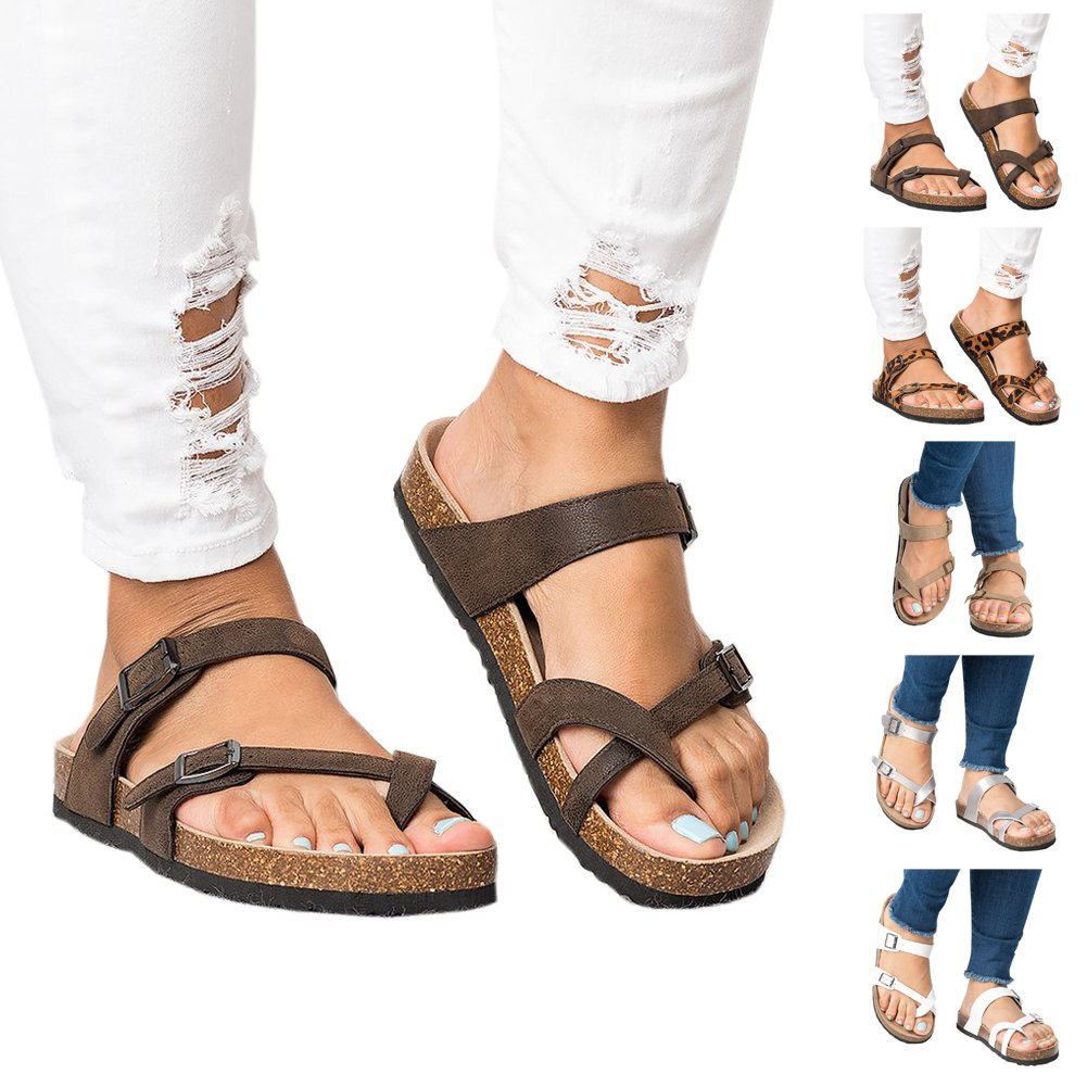 Royou Yiuoer Womens Flat Sandals Platform Espadrille Slide Slip On Footbed Summer Beach Leather Strap Buckle Flip Flop Brown US 7 by Royou Yiuoer