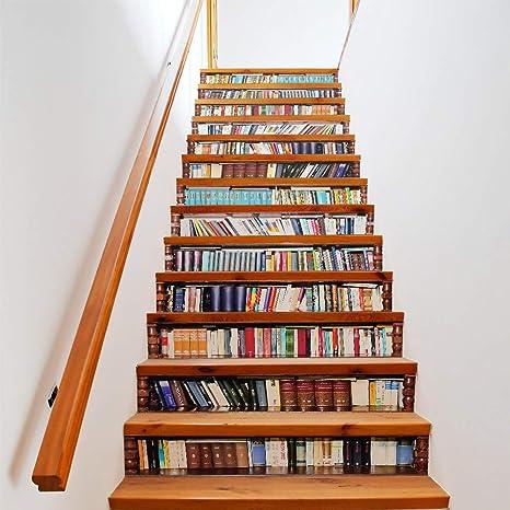 YSFU Pegatinas de pared 13 Unidades/Set DIY 3D Pegatinas Escalera Biblioteca Estantería para Casa Escaleras Decoración Escalera Grande Etiqueta De La Pared: Amazon.es: Deportes y aire libre