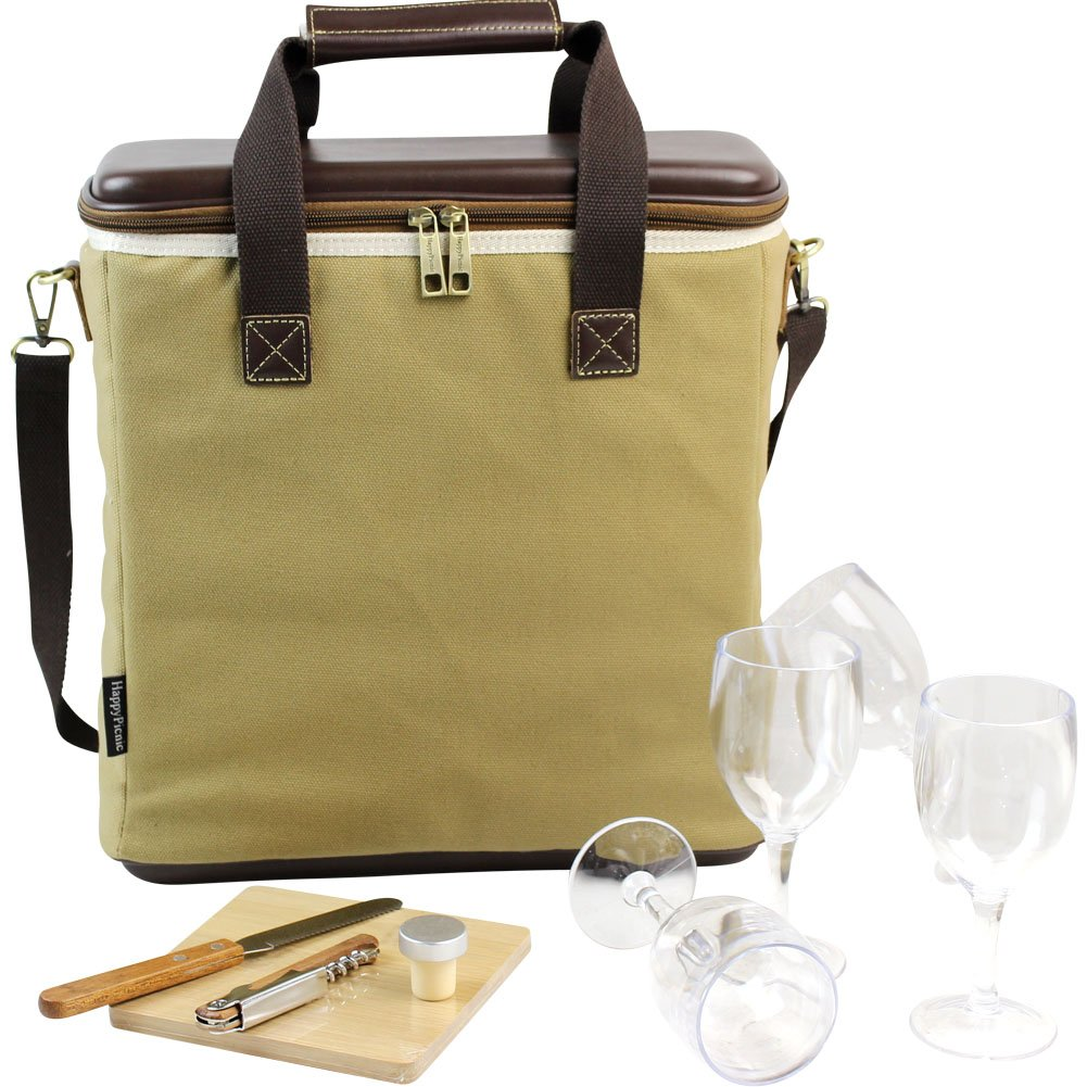 3 Bottle Heavy Duty Wine Cooler Bag/Insulated Wine Carrier for Travel/EVA Molded Champagne Carrying Tote/Wine & Cheese Set with 4 Glasses, Wine Opener & Stopper, Bamboo Cheese Board and Knife by HappyPicnic (Image #4)