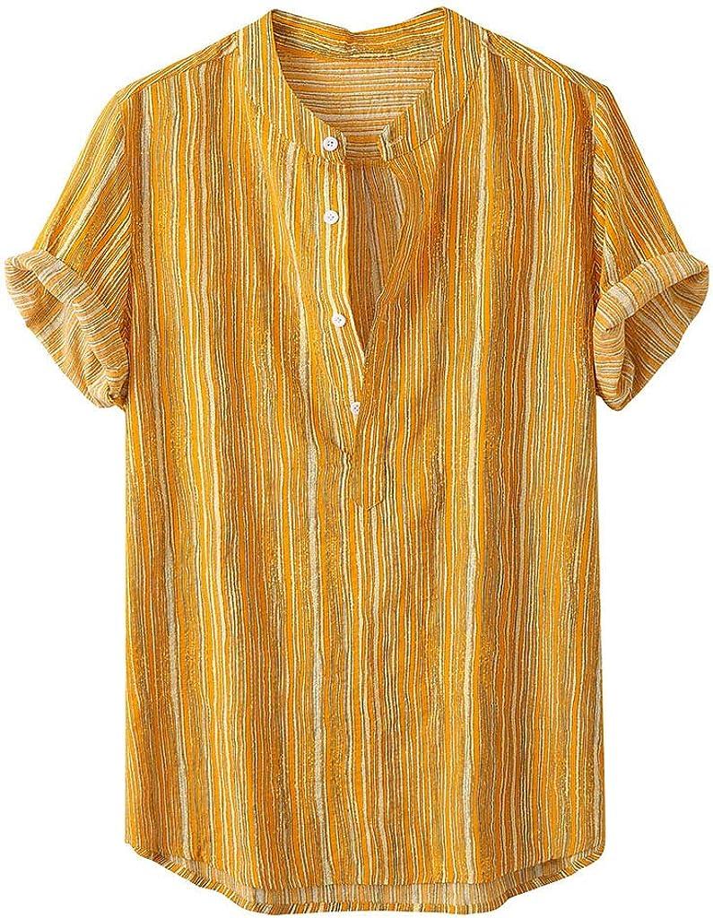 VOWUA Blouses for Mens Vintage Hawaiian Print Autumn Loose Casual Stand Collar Long Sleeve Shirt Tops