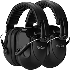 ProCase Noise Reduction Ear Muffs 2 Pack, NRR 28dB Shooter Hearing Protection Headphones Headset Professional Noise Cancelling Ear Defenders for Construction Work Shooting Range Hunting -Black, 2 Pack