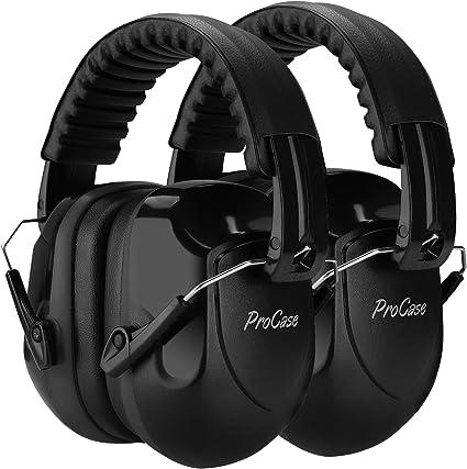 ProCase 2 uds. Casco Antiruido, Protector Auditivo SNR 34 dB Aislante de Ruido Profesional, Casco Insonorizado Protector de Oído para Campo de Disparo, Caza -Negro