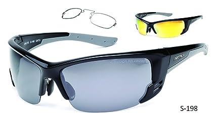 Deporte gafas de sol polarizadas con borde óptico para lentes graduadas S-198 UV40 hombres mujeres negro