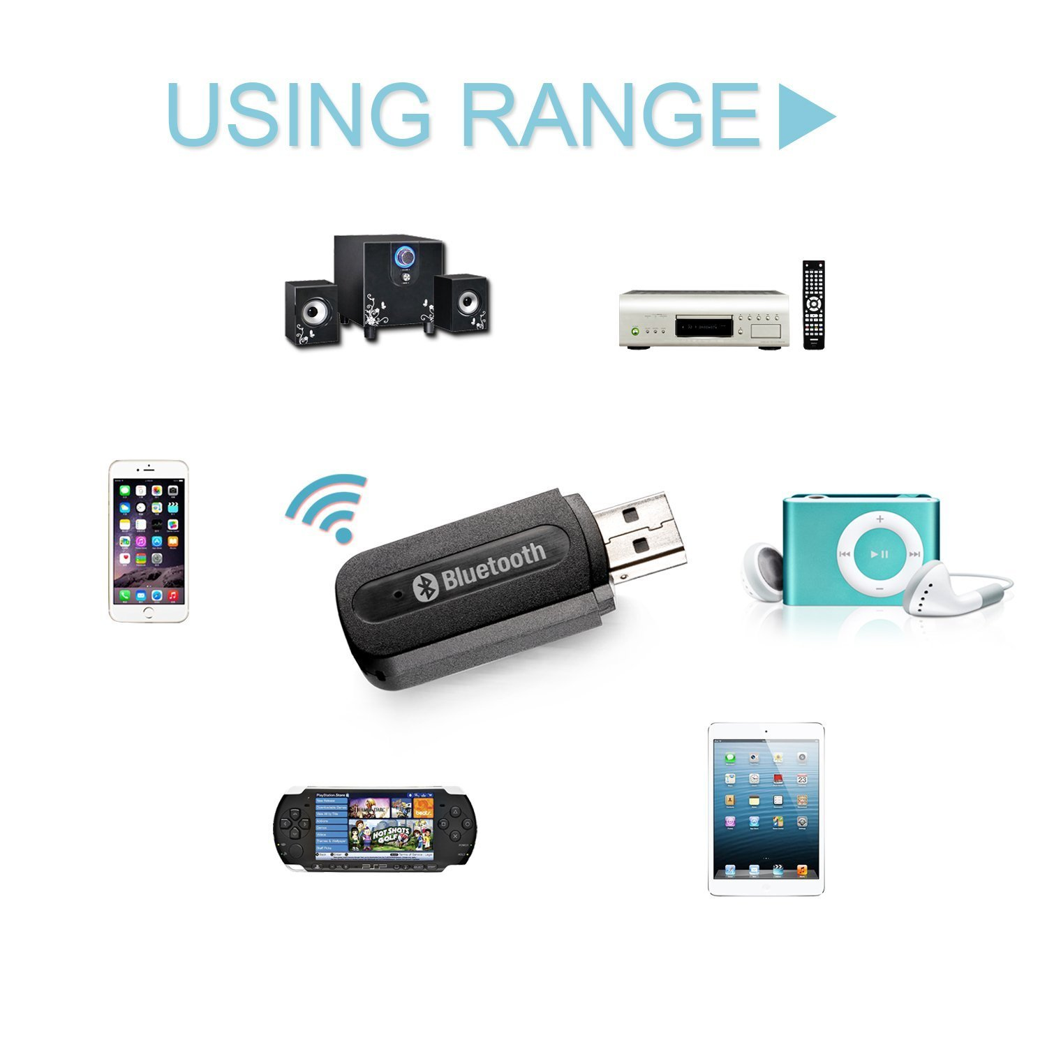 DHMXDC USB Bluetooth Car Kit Wireless Audio Music Receiver Adapter 3.5mm Stereo Output for Headphones Portable Speakers and Car Stereo Systems Black