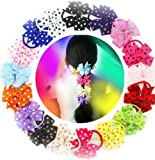 18 Pcs 3.5 Inches Girls Gift Hair Accessories Pinwheel Polka Dot Hair Bows Rubber Elastic Band Tie Ponytail Holders