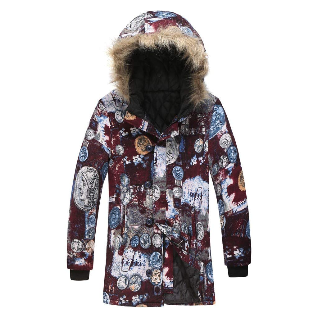 LUKALUKADA Vintage Men's Ethnic Style Hawaiian Style Indian African Style Cotton Floral Print Jacket Hooded Overcoat Wine by LUKALUKADA