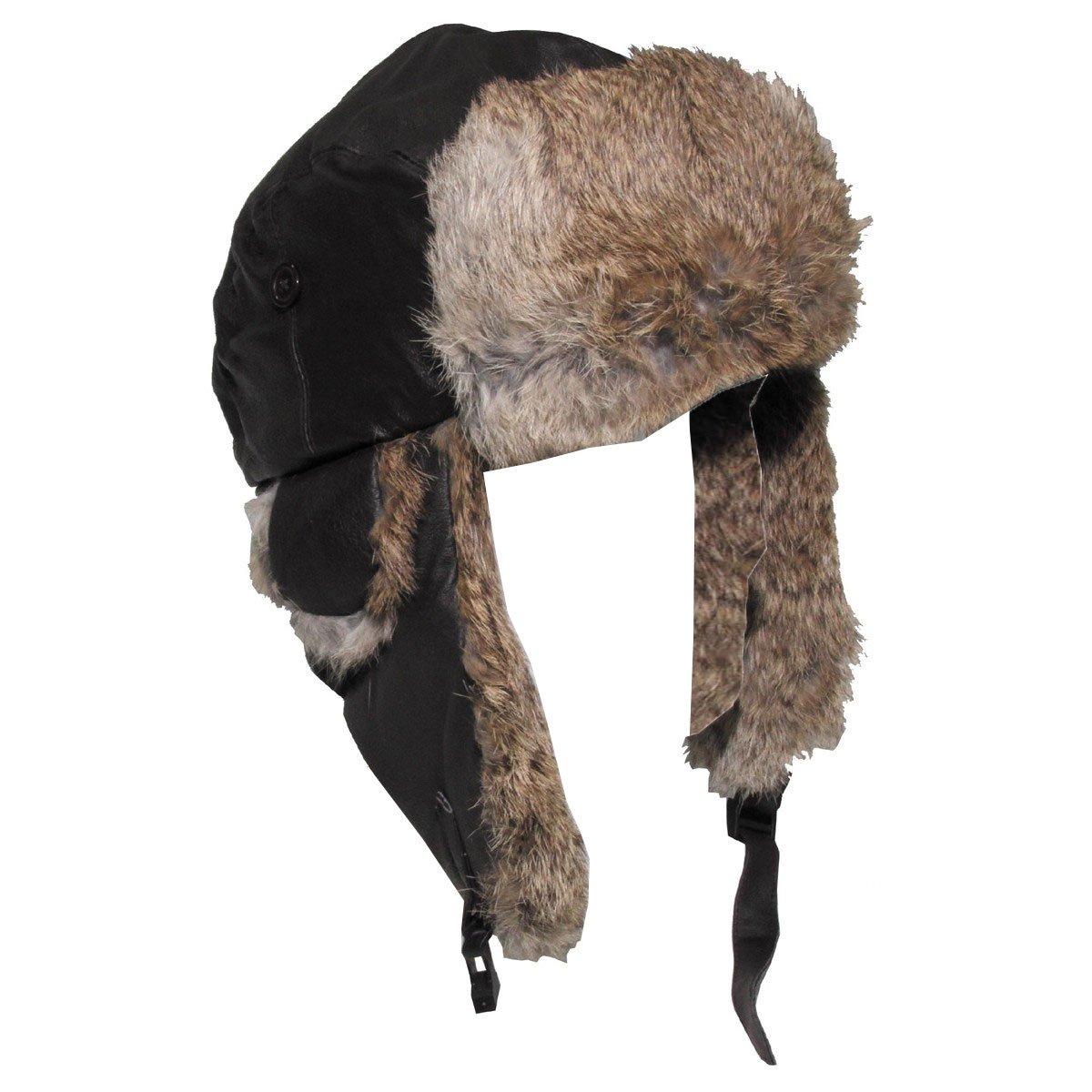 MFH Bonnet en Cuir /à Fourrure Style Pilote Marron