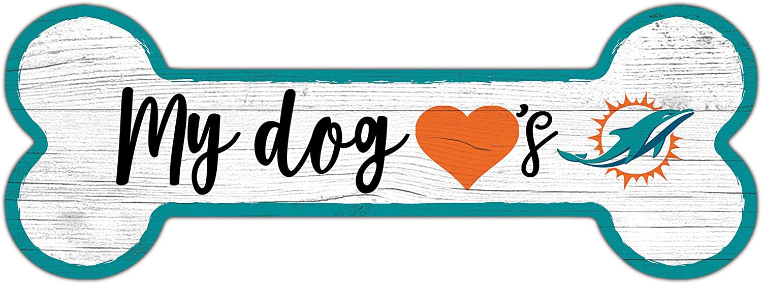 Fan Creations NFL Miami Dolphins Unisex Miami Dolphins Dog Bone Sign, Team Color, 6 x 12