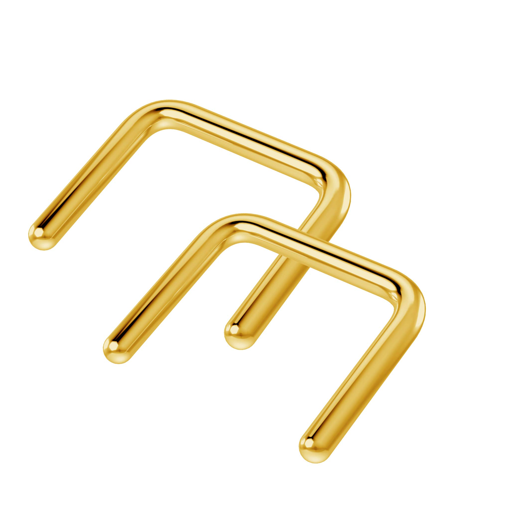2pc Gold Anodized Septum Retainer 16g U-Shaped Piercing Ring 16 Gauge Staple Shape Jewelry 5/16 8mm