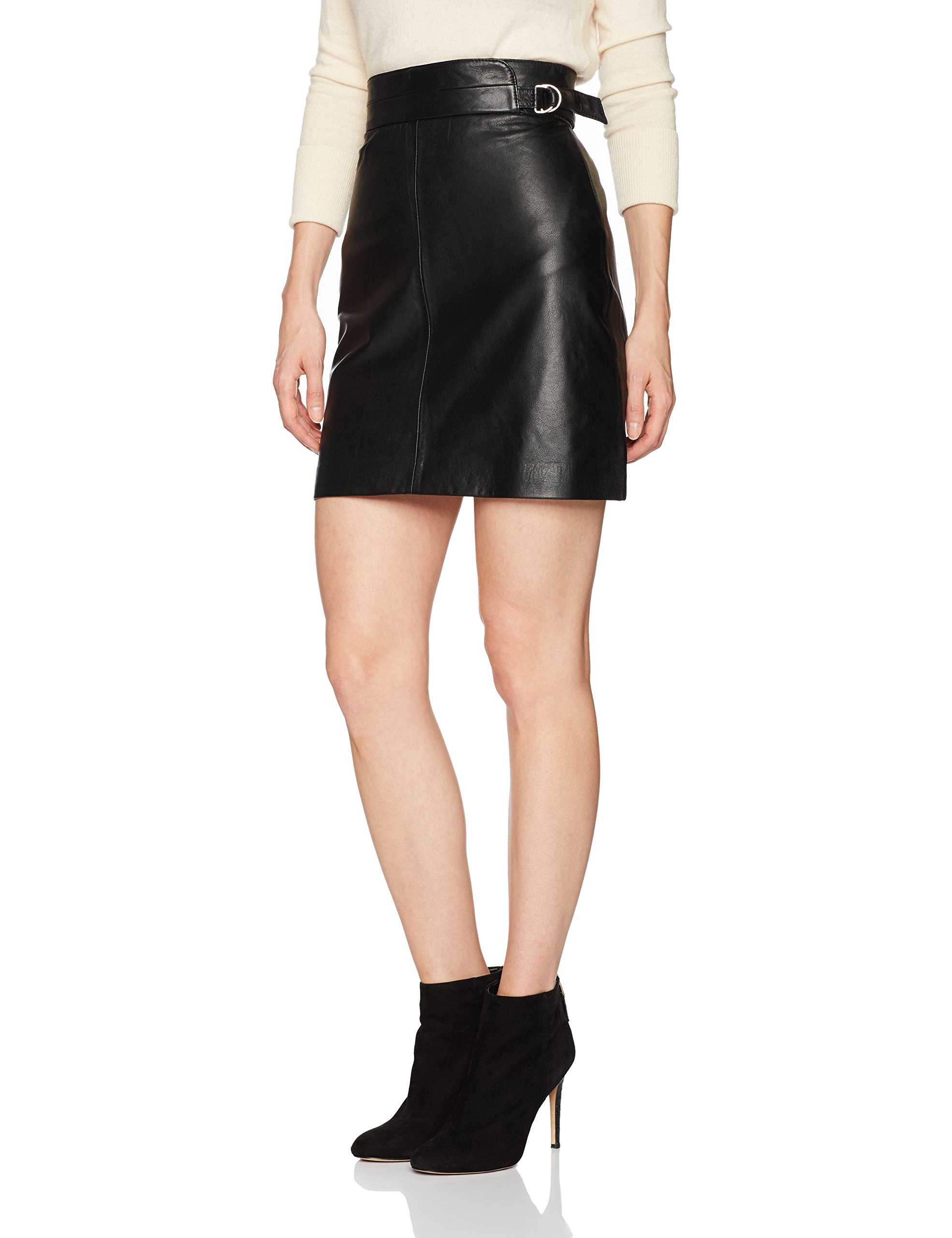 French Connection Women's Goldenburg Leather Skirt, Black, 0