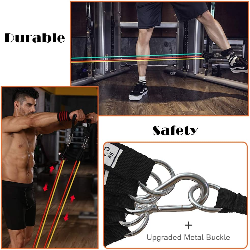 Yoga Home Workouts Including 5 Stackable Exercise Bands with Door Anchor,3 Latex Loop Bands Resistance Bands Set 2 Ankle Straps