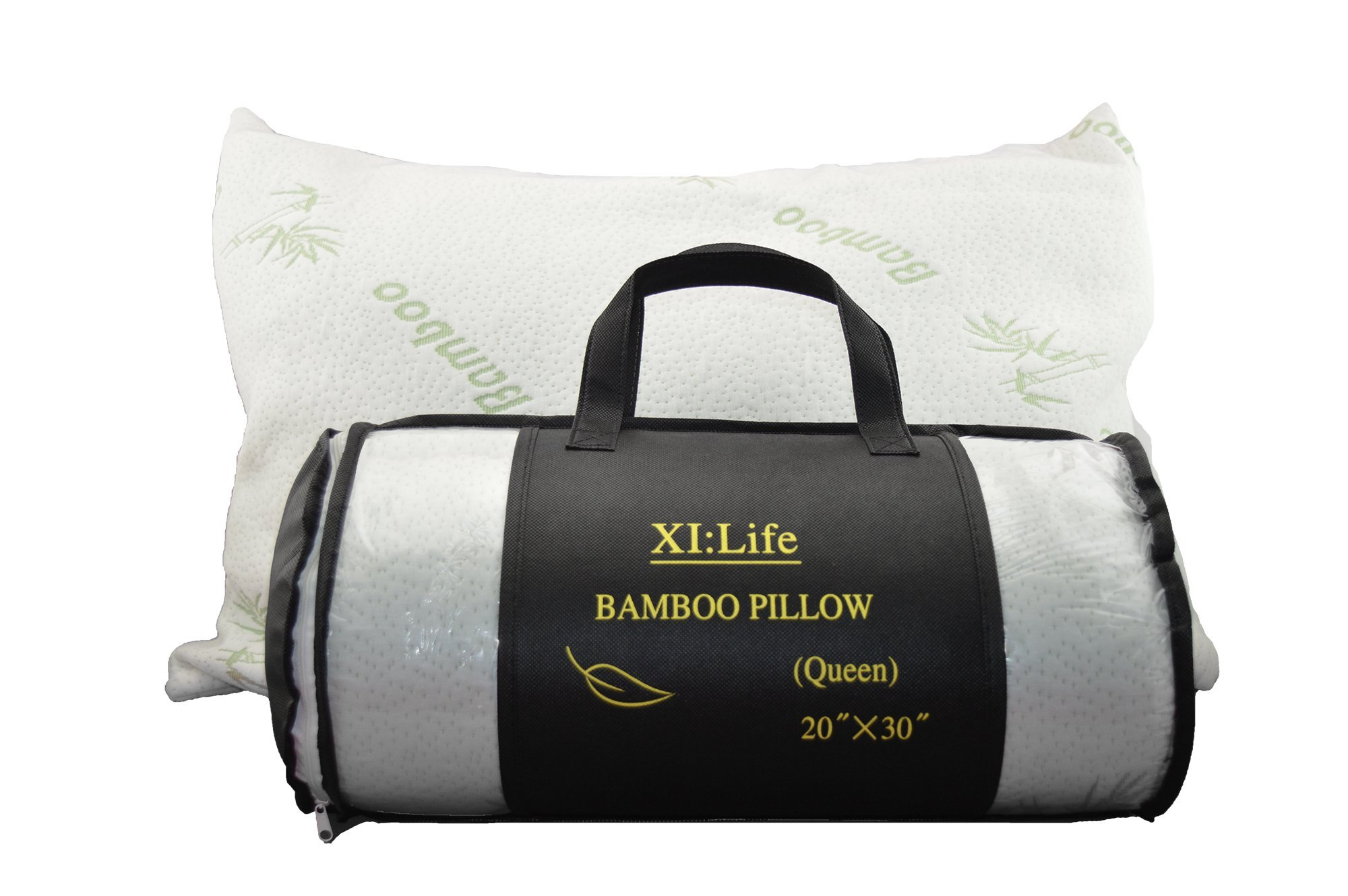 Luxury Shredded Memory Foam Jumbo Queen Size Pillow with Padded Bamboo Cover - Hypoallergenic Hotel Quality Feather Soft 20'' x 30'' Plush Sleep Cushion - SleepBully by XI: Life