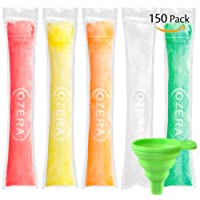 Ozera 150 Pack Popsicle Molds Bags, Disposable DIY Ice Pop Mold Bags for Gogurt, Ice Candy, Otter Pops or Freeze Pops. BPA Free and FDA Approved Popsicle Bags Maker - Comes With A Funnel