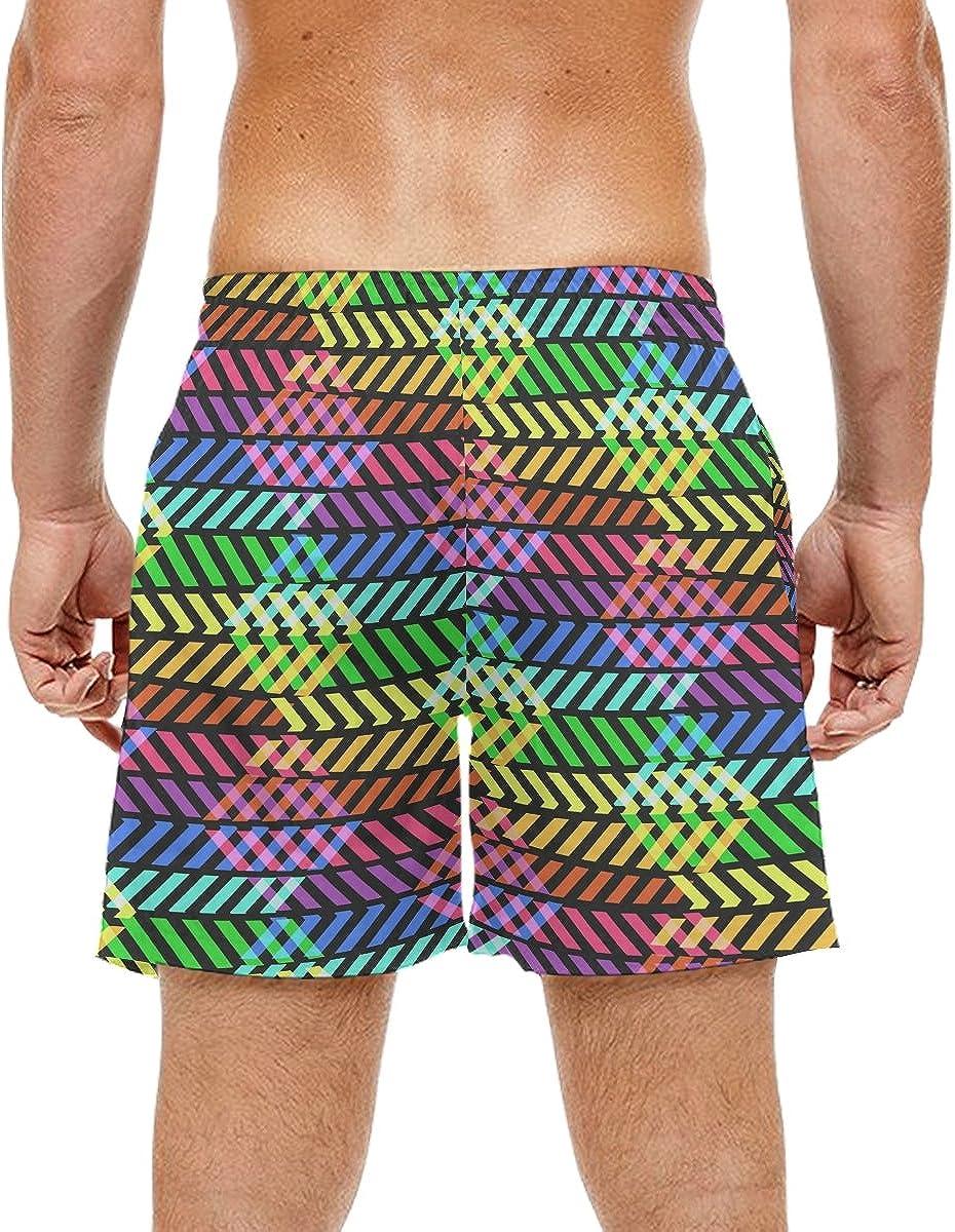KEAKIA Mens Abstract Rainbow Pattern with Rombus Beach Board Shorts Quick Dry Swim Trunk