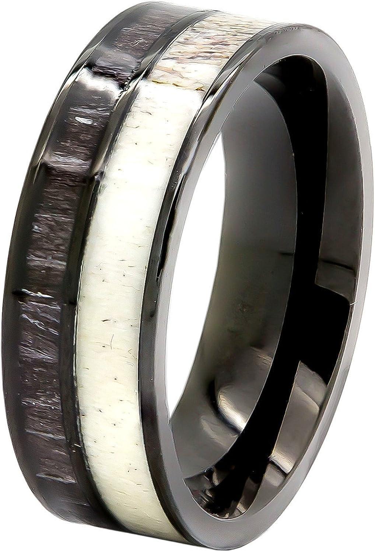Wooden Rings Wood Ring Koa Wood Wood Rings Wooden Ring Wooden Rings for Men Black Koa Wood Ring Deer Antler Ring Wood Rings for Men Deer Antler Rings