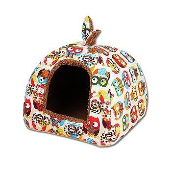 UEETEK cama cesta para perro desmontable Igloo para gato cojín suave sofá perro orejas de conejo Modelo de búho: Amazon.es: Productos para mascotas