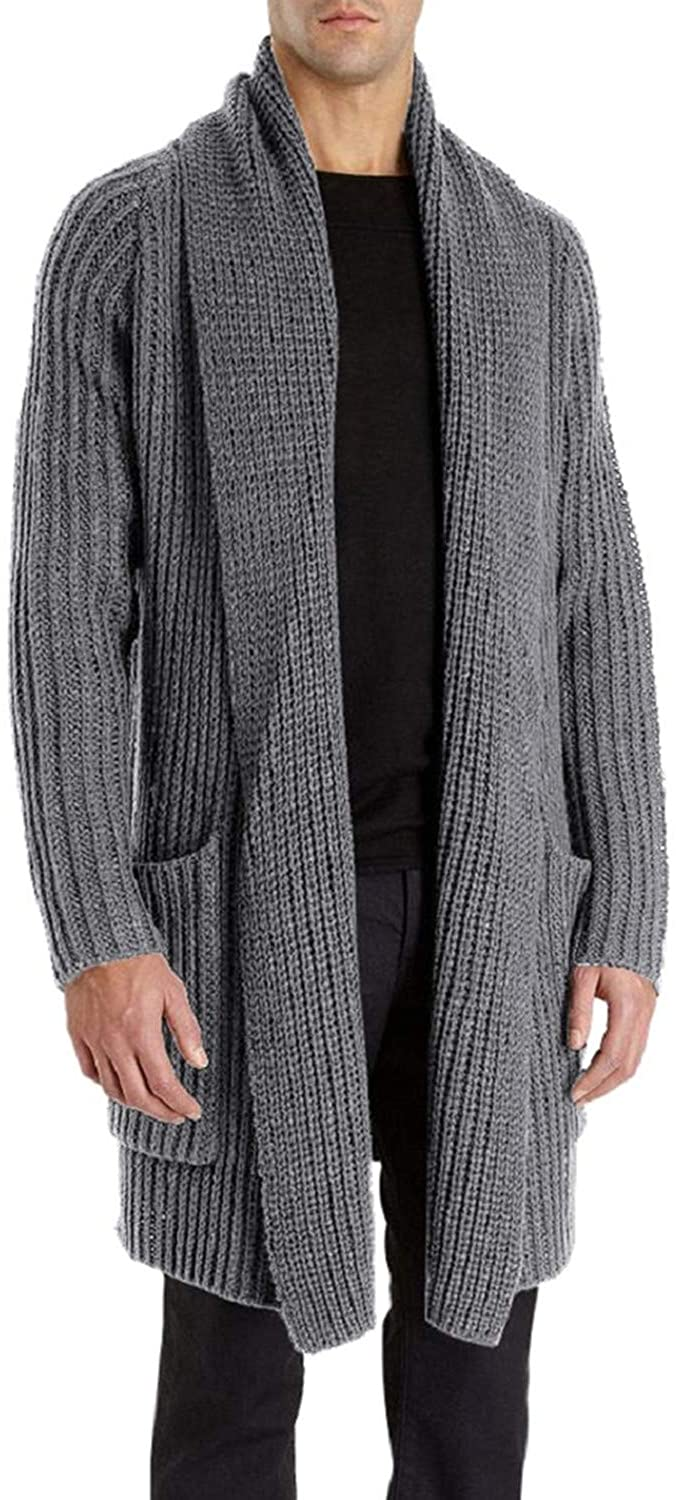 Men/'s Long Sleeve Cardigan Shawl Collar Open Front Casual Sweater Coat Jumpers