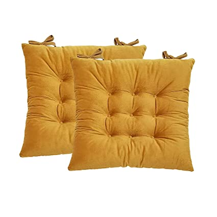 Hevice Chair Pads and Cushions,Seat Cushion for Kitchen Chars,Indoor  Outdoor Seat Cushions Yellow 2 Packs 15\