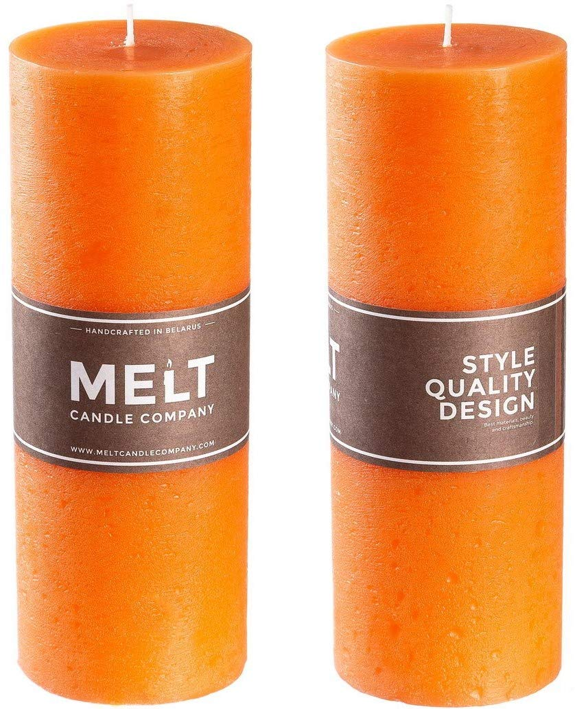 """Melt Candle Company Set of 2 Orange Pillar Candles 3"""" x 8"""" Unscented for Weddings, Church, Home Decoration, Restaurants, Spa, Smokeless Cotton Wick - Rustic - Fragrance-Free"""