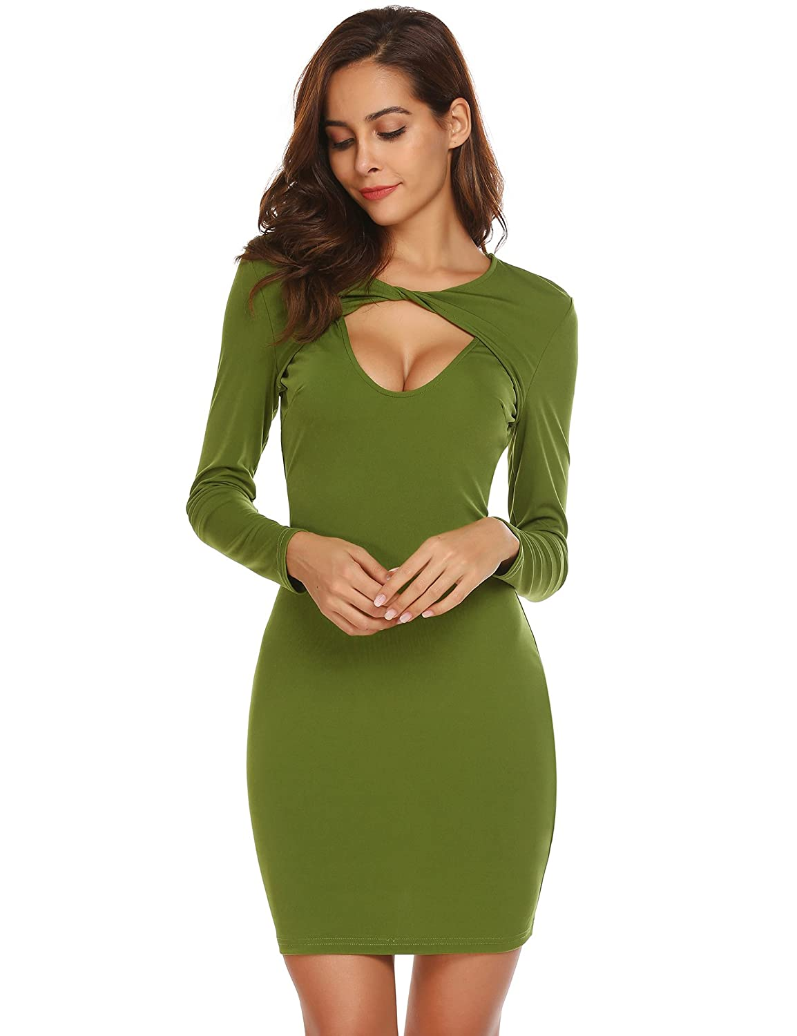 fab13db362b Zeagoo Women Sexy Deep V Neck Sleeveless Bodycon Cocktail Evening Party  Summer Dress at Amazon Women's Clothing store:
