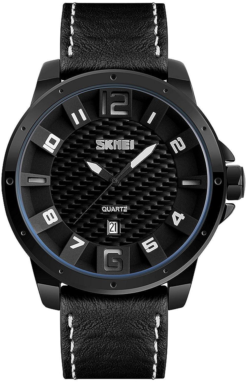 メンズファッションスポーツウォッチクオーツカレンダー腕時計レザーストラップ30 M防水腕時計 B075J9V2HL