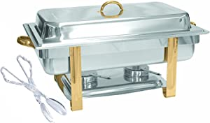 Tiger Chef Chafing Dish Buffet Set - Chafers and Buffet Warmers Sets - Full Size Food Warmer with Gold Accents 8 Quart