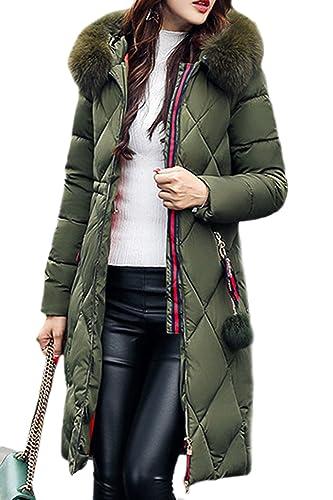 La Mujer Elegante Cálido Invierno Espesar Plaid Faux Fur Coats Down Abrigos Parkas Puffer Con Capuch...