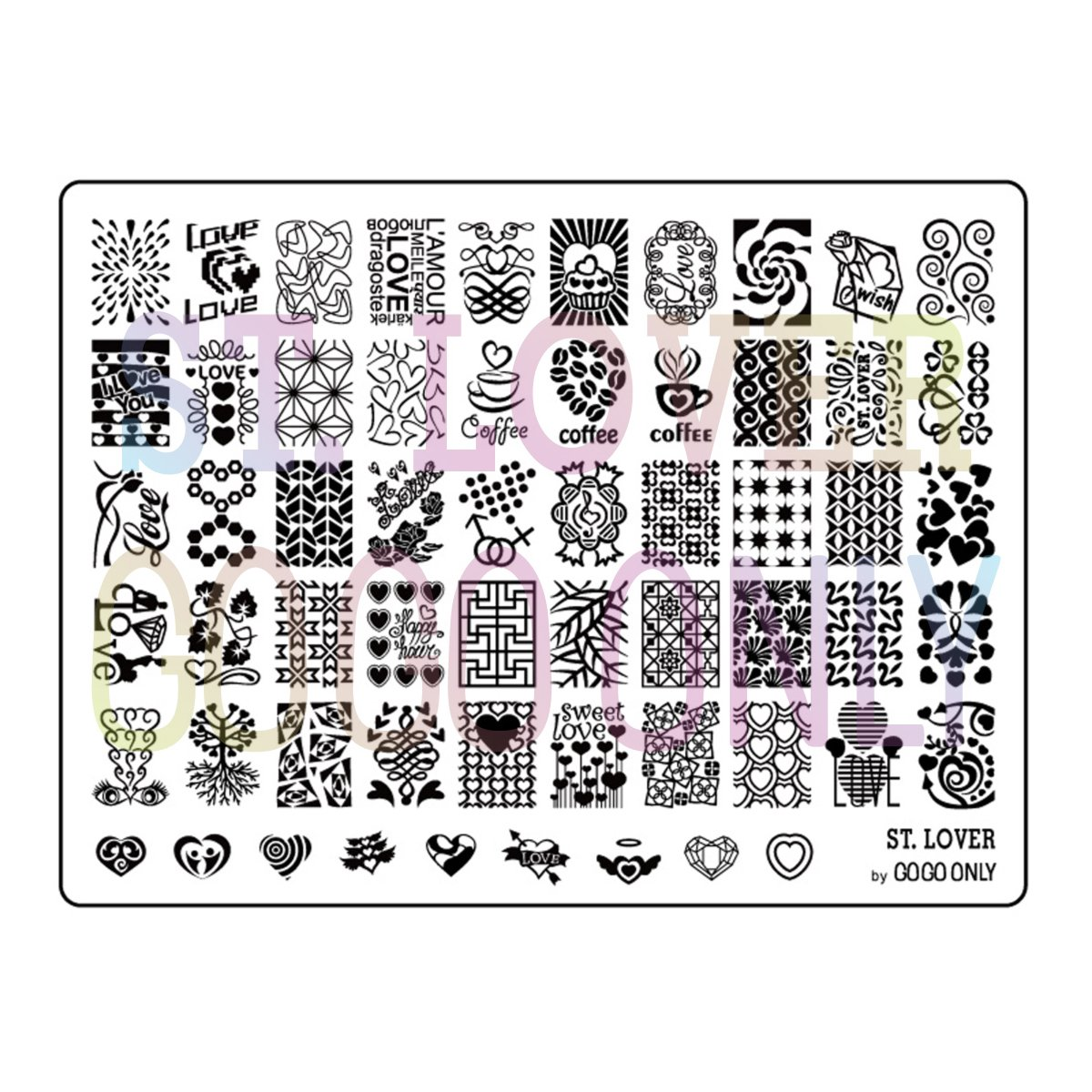 Gogoonly Nail Art Stamp Plate Collection St. Lover - Huge Size Stamping Image Plates Manicure Nail Designs DIY-BH000482