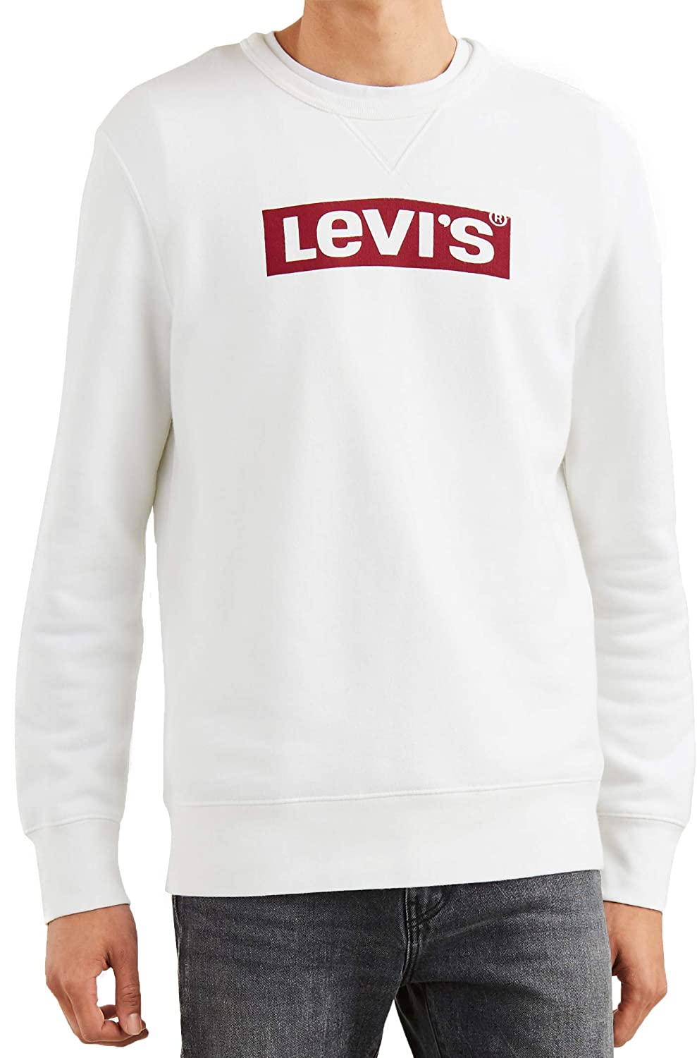 2cf1c820cfc Levi's Mens Graphic Logo Crew Sweat in White- Ribbed Cuffs, Hem and ...
