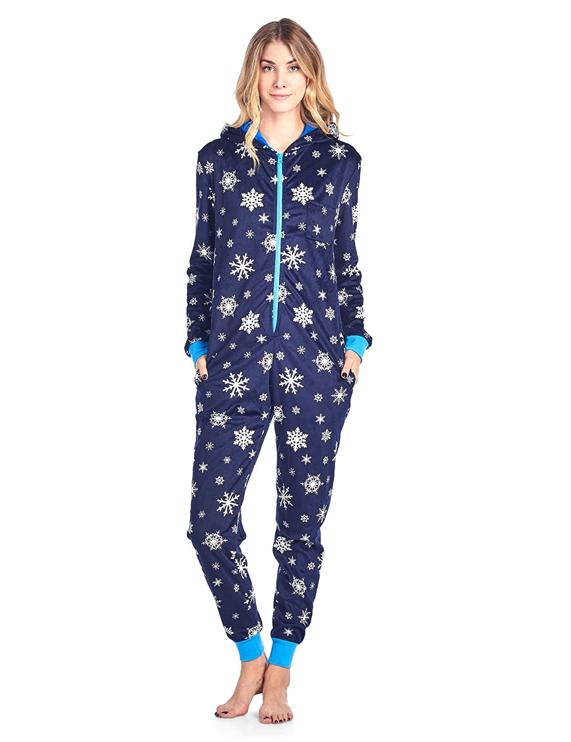 Ashford & Brooks Women's Fleece Hooded One Piece Pajama Union Jumpsuit ABW78554MFO