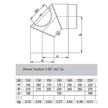 Rauchrohrbogen Ofenrohr Winkel Drehbar 0 90 O 150mm Mit Tur Amazon