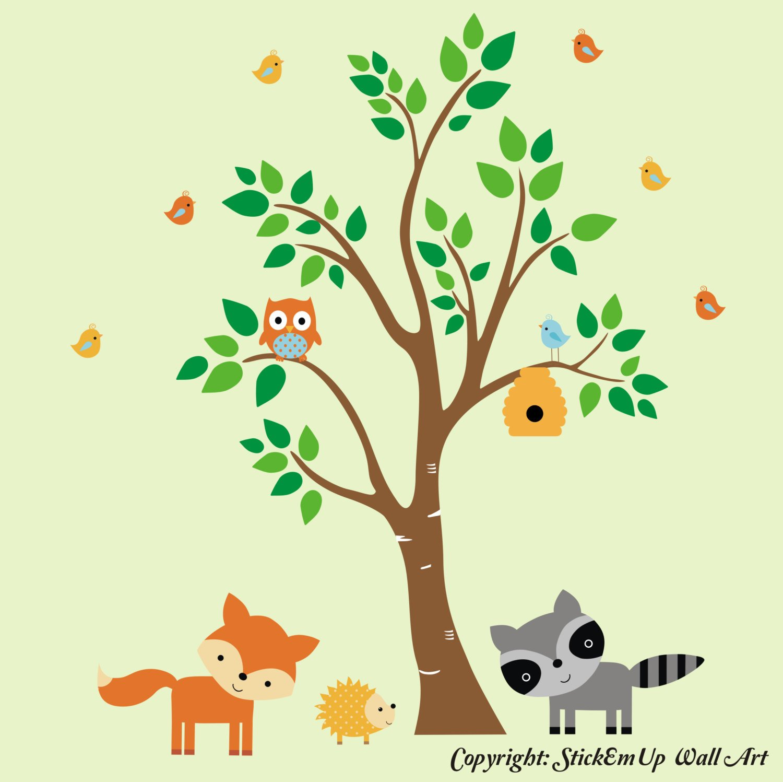 Amazon.com: Forest Nursery Decals - Woodland Animal Wall Stickers ...