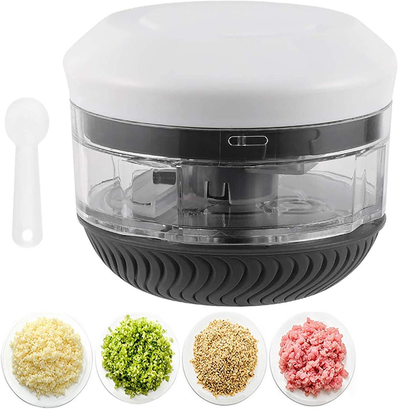 Mini Food Chopper, Portable Garlic Blender Mincer Onion Chopper Manual Food Processor, Durable Food Choppers and Dicers, 230ml, BLACK