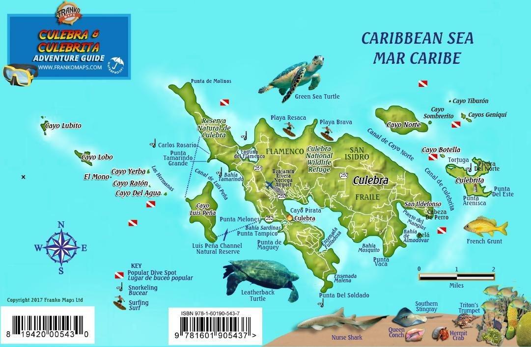 Culebra Puerto Rico Dive Map & Coral Reef Creatures Guide Franko ...