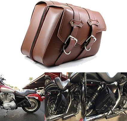 League Co Pu Leder Motorradtasche Satteltasche Gepäcktaschen Werkzeugtasche Tasche Für Harley Sportster Xl883 Xl1200 1990 Up Braun Sport Freizeit