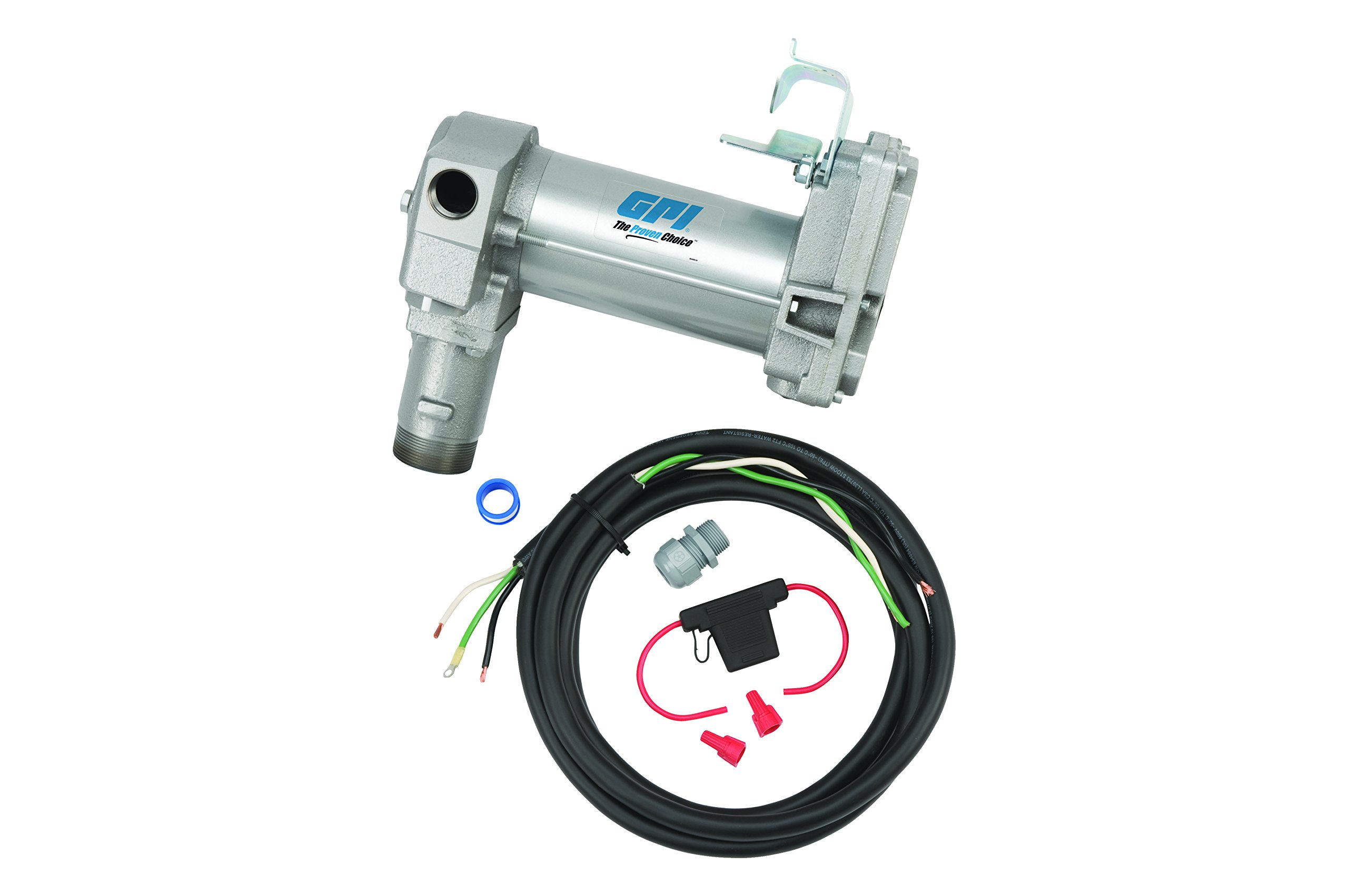 GPI 133240-3, M-3025-PO High Flow Cast Iron Fuel Transfer Pump, 12-VDC, 25 GPM, Straight Base, Pump Only by GPI (Image #1)