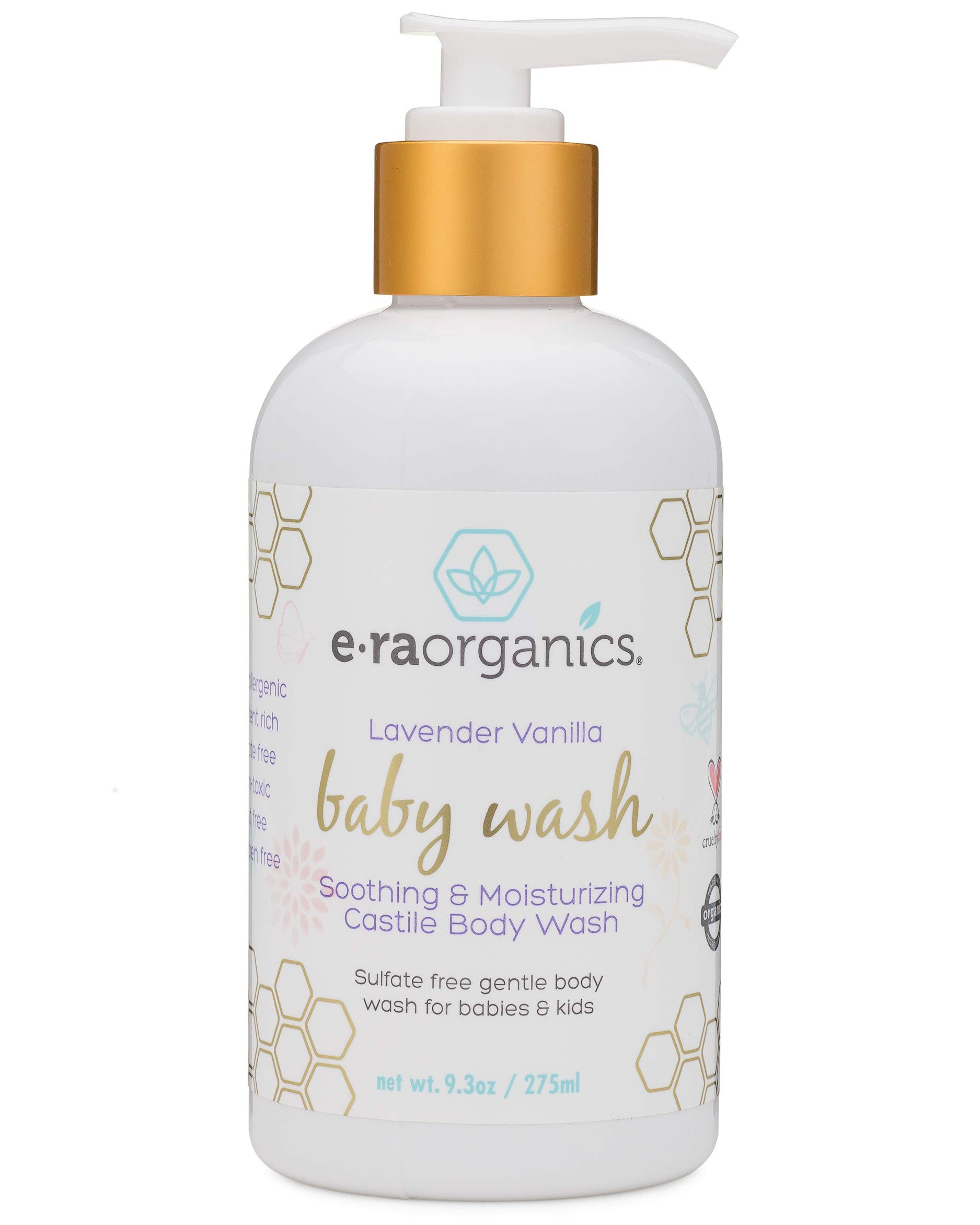 Moisturizing Natural Baby Wash - Organic Sulfate Free Soothing Castile Soap Body Wash for Dry, Itchy, Sensitive Skin with Coconut Oil, Jojoba Oil, Olive Oil, Rosemary Extract and More Era-Organics by Era Organics