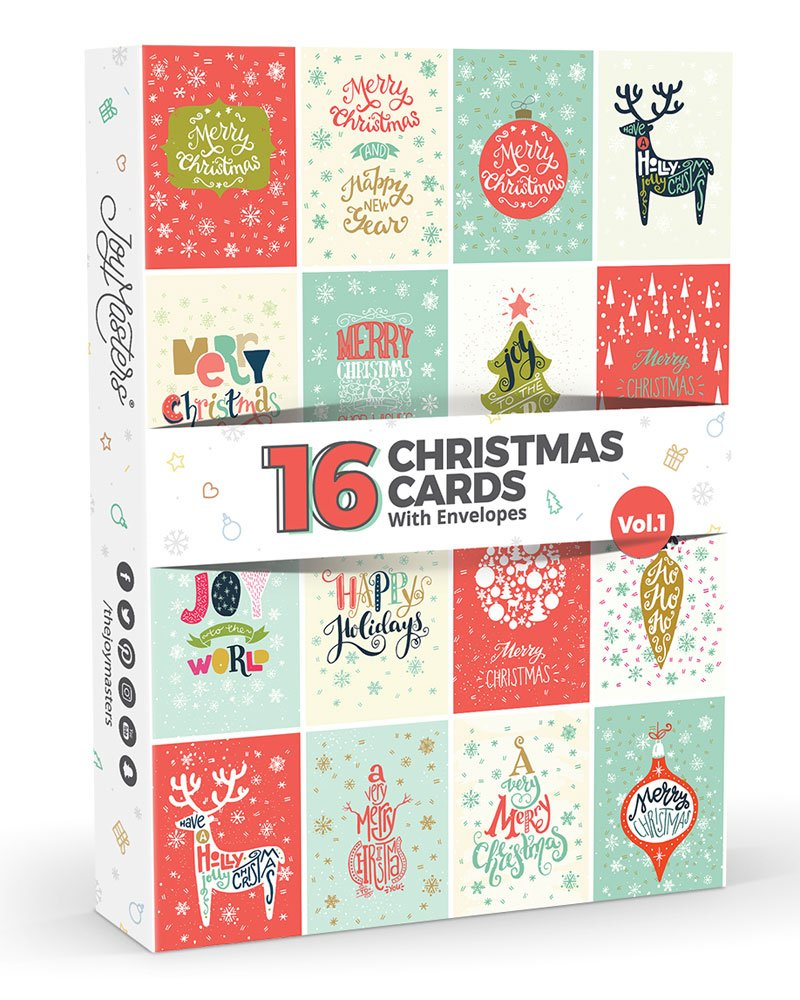 16 biglietti di Natale di Joy MastersTM, Vol. 1, confezione multipla con buste, design classico, ampio set per uomo e donna