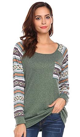 POGTMM Women's Casual Patchwork Plus Size Tunic Tops Raglan Long ...