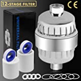 12-Stage Shower Filter Water Purifier Hard Water Softener with Replacement Cartridges, Fit Most Shower Head and Handheld Shower, Remove Chlorine Fluoride Heavy Metals for Hair & Skin Health