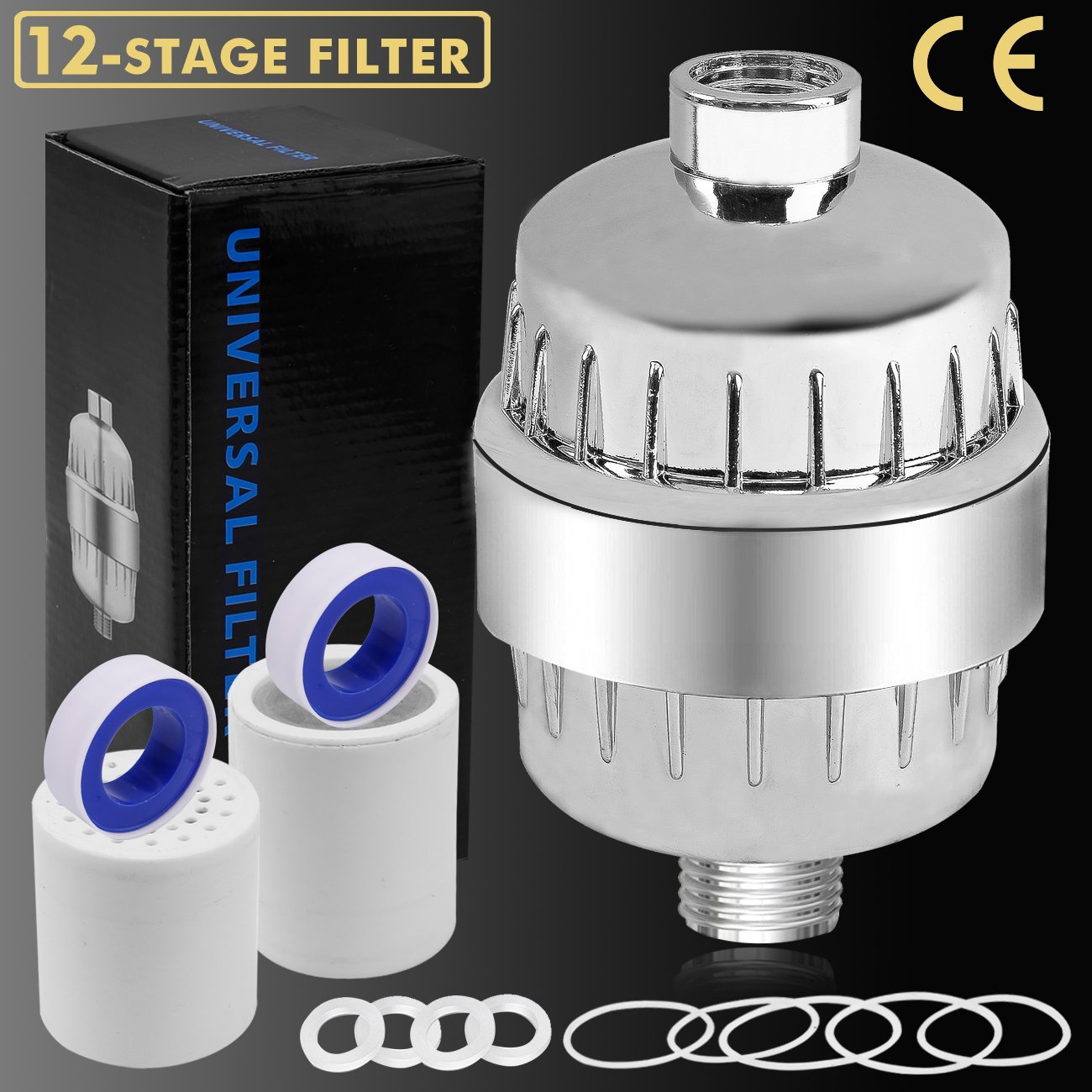 12-Stage Shower Filter Water Purifier Hard Water Softener with ...
