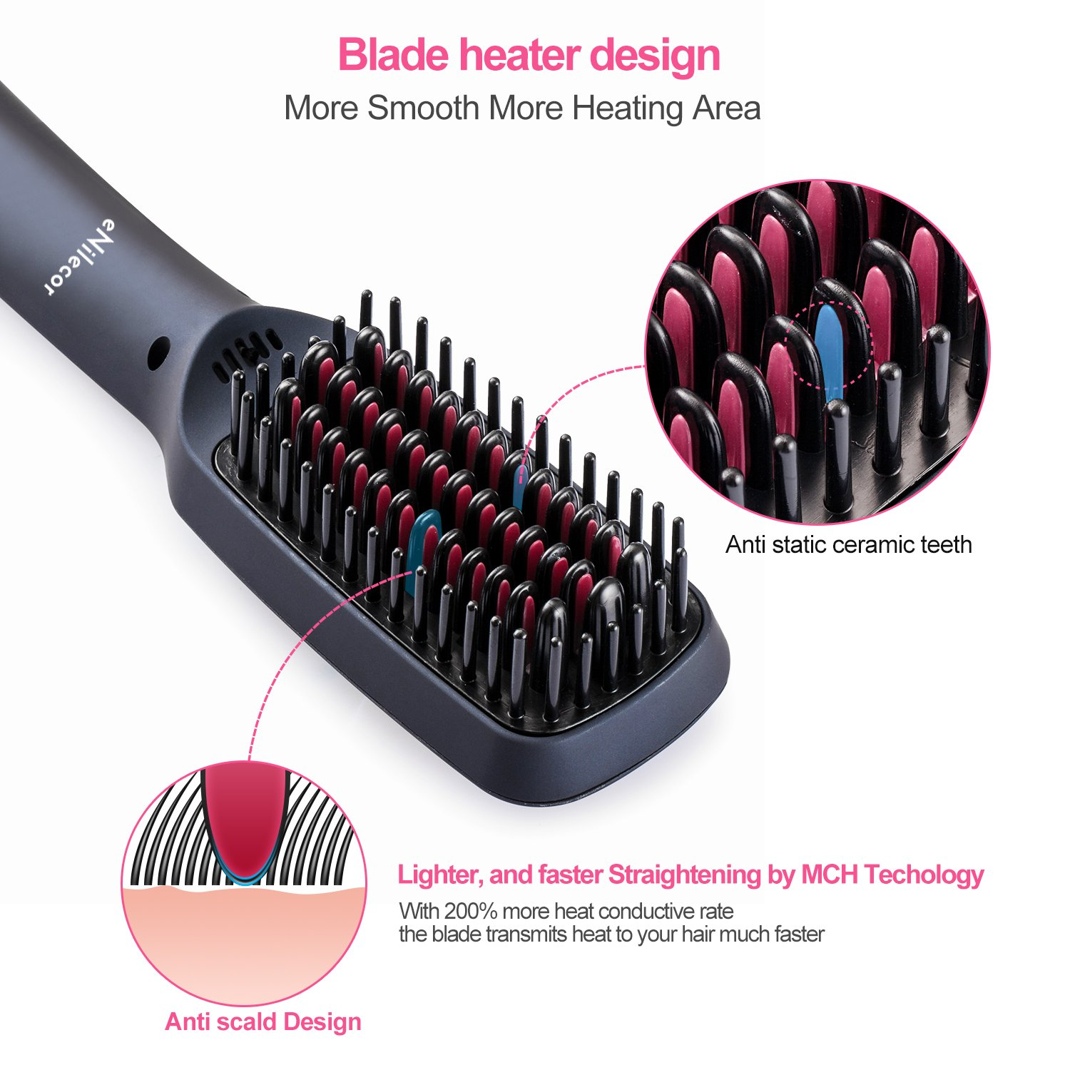 Straightening Brush, eNilecor Ceramic Ionic Hair Brush Straightener Heating Anti-scald, Adjustable Temperature, Free Heat Resistant Glove (Black)