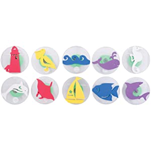 Ready 2 Learn Giant Stampers - Sea Adventure - Set of 10 - Easy to Hold Foam Stamps for Kids - Arts and Crafts Stamps for Displays, Posters, Signs and DIY Projects