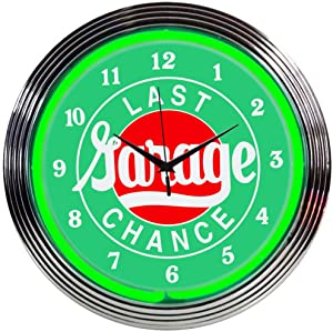 """Neonetics Cars and Motorcycles Garage Neon Wall Clock, 15"""""""