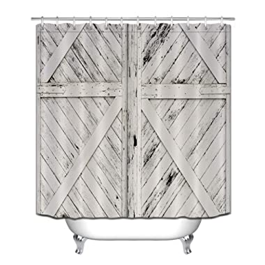 LB Rustic Barn Door Grey White Tan Brown Painted Barn Wood Decor Shower Curtain for Bathroom, Western Country Theme House Decor, Waterproof Fabric Decor Curtain, 70 x 70 Inch
