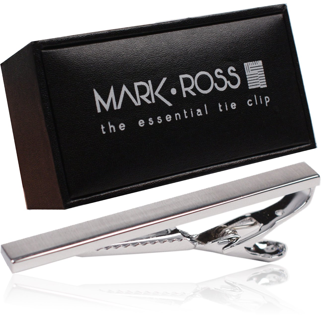 Tie Clip by Mark Ross - Brushed Silver Tone Tie Bar Clip for Men with Premium Giftbox Packaging 2.25'' Long
