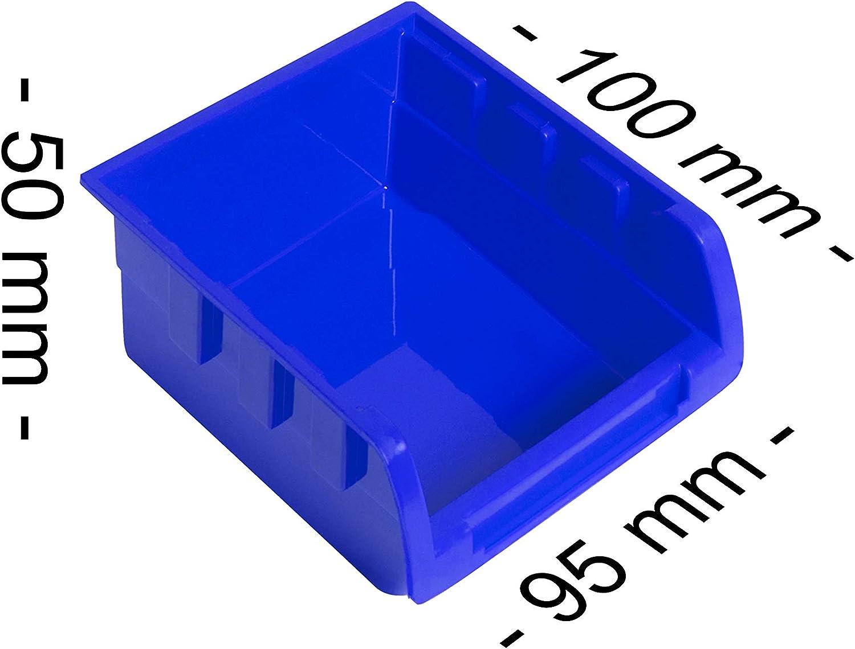 Masko/® Stapelboxen Wandregal 32tlg Box Sichtlagerk/ästen Sch/üttenregal Steckregal Schwarz//Blau
